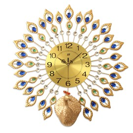 Peacock Pattern Round Iron and Diamond Battery Mute Hanging Wall Clock