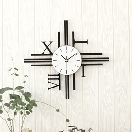 21×19in Black Roman Numbers Acrylic Waterproof and Eco-friendly Hanging Wall Clock