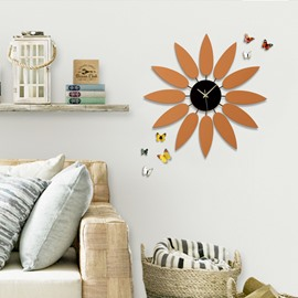 24×24in Orange Leaves Iron and Board Durable and Eco-friendly Hanging Wall Clock