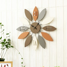 24×24in Leaves Iron and Board Durable and Mute Hanging Wall Clock
