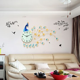 Peacock Pattern Iron and Diamond Battery Mute DIY Hanging Wall Clock