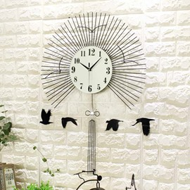 34×24in Black Fan Pattern Iron and Glass Durable and Mute Hanging Wall Clock