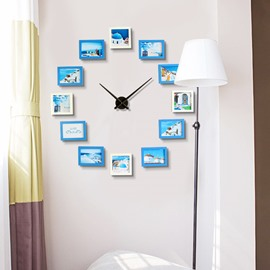 47×47in Blue and White Photo Frames Creative Style Board Battery Hanging Wall Clock