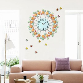 24×24in Colorful Diamonds Embellishing Round Dial Iron Frames Battery Hanging Wall Clock