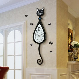 29×8in Black Cat Pattern Density Board and Glass Battery Hanging Wall Clock
