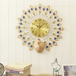 28in Peacock Pattern Round Iron and Diamond Battery Mute Hanging Wall Clock