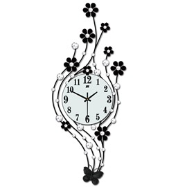 Needle&Digital Display Type Iron Art Material Stopwatch Movement Wall Clock