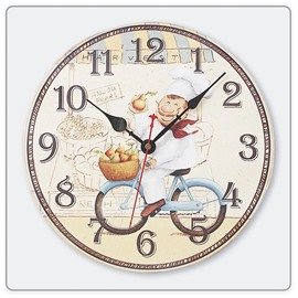 MDF Wood Material Creative Life Pattern Noiseless Home Decor Wall Clock