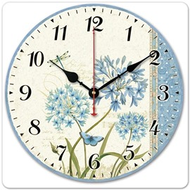 Dandelion Pattern Retro Style Noiseless Wood Material Wall Clock