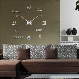 Creative 3D Acrylic DIY Simple Design Home Decor Mute Figure Wall Clock