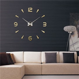 Simple Design 3 Color Creative 3D Acrylic DIY Home Decor Mute Figure Wall Clock
