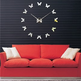 Butterfly Pattern 3D Acrylic DIY 3 Color Home Decor Mute Figure Wall Clock