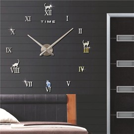 3D Acrylic Classic Roman Numbers And Cats Pattern DIY Mute Wall Clock