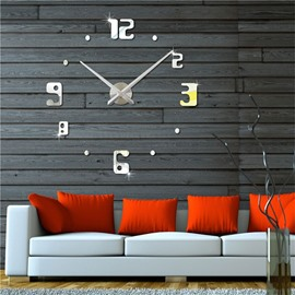 2 Color DIY 3D Acrylic Numbers Pattern Home Decor Mute Wall Clock