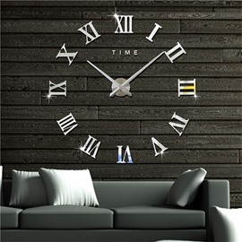 Simple Design Roman Numbers Pattern 3D Acrylic DIY Mute Wall Clock