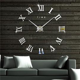 Simple Design Roman Numbers Pattern 3D Acrylic DIY Mute Wall Clock