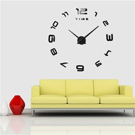 Black/Silver Classic Style 3D Acrylic DIY Home Decor Mute Figure Wall Clock