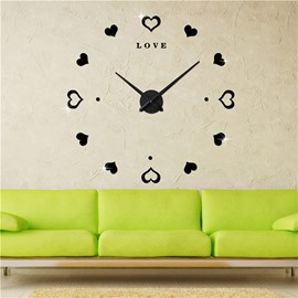Love Heart And Letters Pattern Simple Design 3D Acrylic DIY Mute Wall Clock