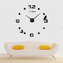 Birds And Numbers Pattern 3D Acrylic DIY Home Decor Mute Wall Clock