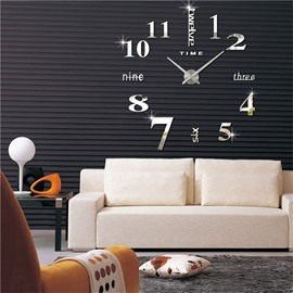 3D Acrylic DIY Numbers And Letters Pattern Home Decor Mute Wall Clock