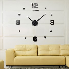 3 Color Big Number Pattern 3D Acrylic DIY Home Decor Mute Wall Clock