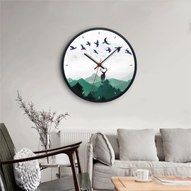 Ink Painting Style Elk Pattern Glass Surface Circular Home Decor Mute Wall Clock