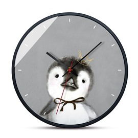 Animals Pattern Cute Cartoon Style Glass Surface Circular Home Decor Mute Wall Clock