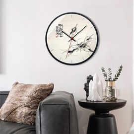 Chinese Style Classic Shrimp Pattern Glass Surface Circular Home Decor Mute Wall Clock
