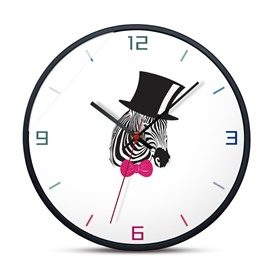 5 Zebra Pattern 12*12*1.6in Glass Surface Circular Home Decor Mute Wall Clock