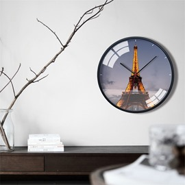 Famous Buildings Pattern 12*12*1.6in Glass Surface Circular Home Decor Mute Wall Clock