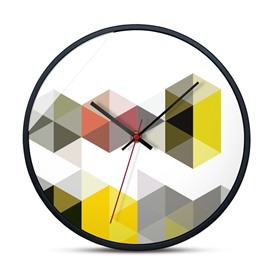 Multiple Choice Abstract Color Pattern 12*12*1.6in Glass Surface Home Decor Mute Wall Clock