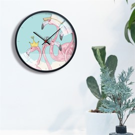 4 Pattern Flamingo Pattern 12*12*1.6in Glass Surface Home Decor Mute Wall Clock