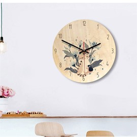 11*11*1.6in Cute Cats Pattern Wood Material Kids Room Decor Mute Wall Clock