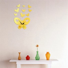 Butterfly Pattern Self-adhesive 3 Color Simple Design 3D Acrylic DIY Specular Mute Wall Clock