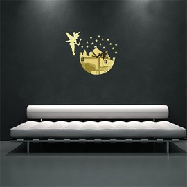 Fairy With House Pattern 3 Color Simple Design 3D Acrylic DIY Specular Mute Wall Clock