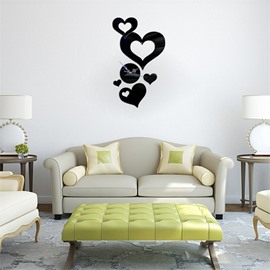 Love Heart Self-adhesive 3 Color Simple Design 3D Acrylic DIY Specular Mute Wall Clock