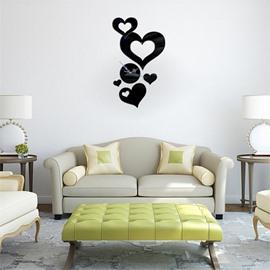 Love Heart Self-adhesive 3 Color Simple Design 3D Acrylic DIY Specular Mute Wall Clock