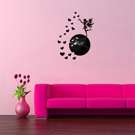 Self-adhesive 3 Color Fairy And Love Heart Simple Design 3D Acrylic DIY Specular Mute Wall Clock