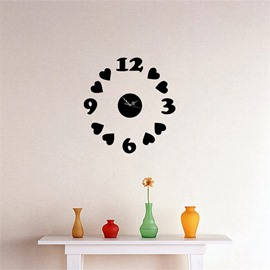 Love And Letter Pattern Self-adhesive Simple Design 3D Acrylic DIY Specular Mute Wall Clock