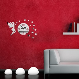 Self-adhesive 3 Color Fairy And Star Simple Design 3D Acrylic DIY Specular Mute Wall Clock