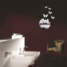 Round And Butterfly Pattern Self-adhesive Simple Design 3D Acrylic DIY Specular Mute Wall Clock