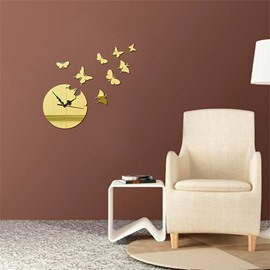 Butterfly Pattern Self-adhesive Simple Design 3D Acrylic DIY Specular Mute Wall Clock