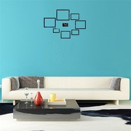 Creative Rectangle Shape3 Color Simple Design 3D Acrylic DIY Specular Mute Wall Clock