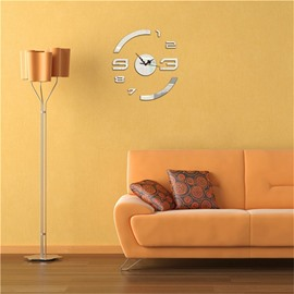 Creative Shape And Figure Pattern 3 Color Simple Design 3D Acrylic DIY Specular Mute Wall Clock