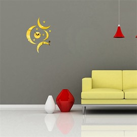 3 Color Simple Design Moon And Star Pattern 3D Acrylic DIY Specular Mute Wall Clock