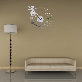 3 Color Simple Design Fairy And Figure Pattern 3D Acrylic DIY Specular Mute Wall Clock