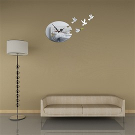 3 Color Simple Design Bird Pattern 3D Acrylic DIY Specular Mute Wall Clock