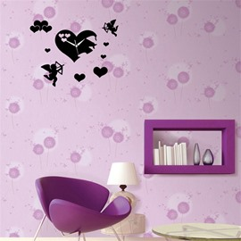 Funny Love Heart And Cupid Pattern 3 Color Simple Design 3D Acrylic DIY Specular Mute Wall Clock