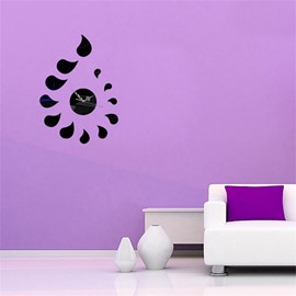 DIY Creative Water Drop Shape 3 Color Simple Design 3D Acrylic DIY Specular Mute Wall Clock