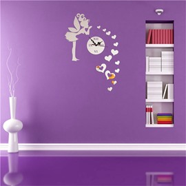Kissing Fairy Pattern 3 Color Simple Design 3D Acrylic DIY Specular Mute Wall Clock